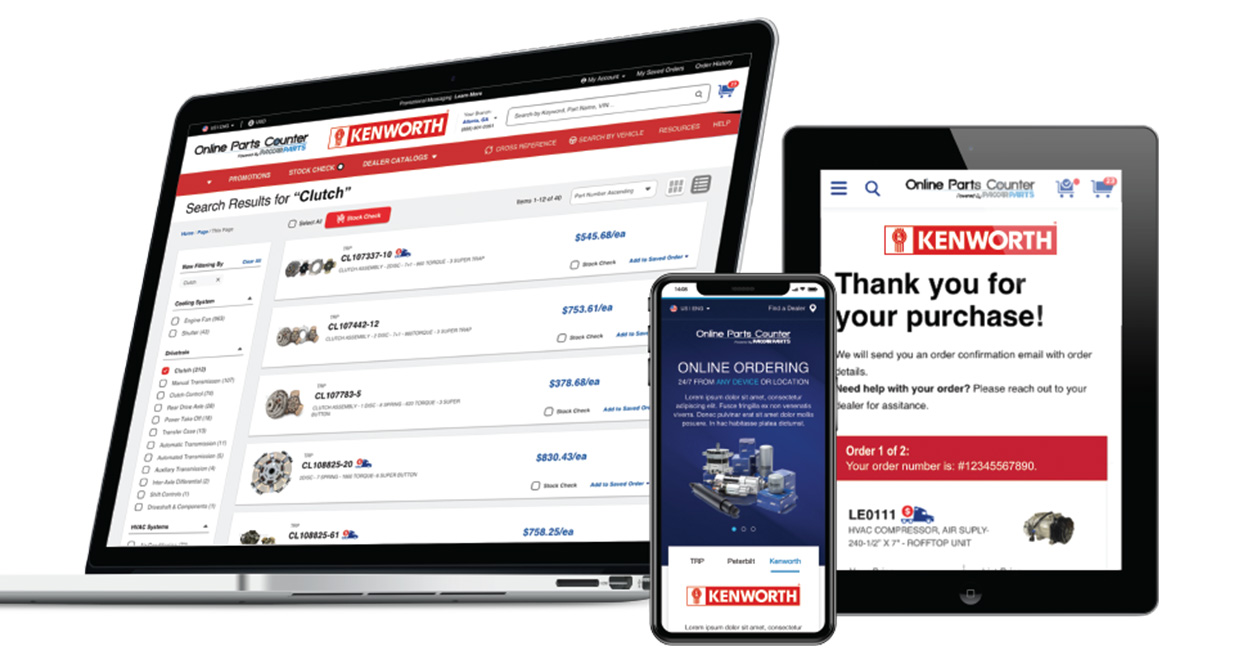 Next Generation of PACCAR Parts eCommerce program, Online Parts Counter (OPC)